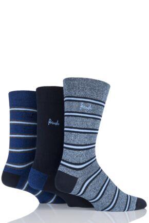 Mens 3 Pair Pringle Angus Plain and Marl Striped Cotton Socks