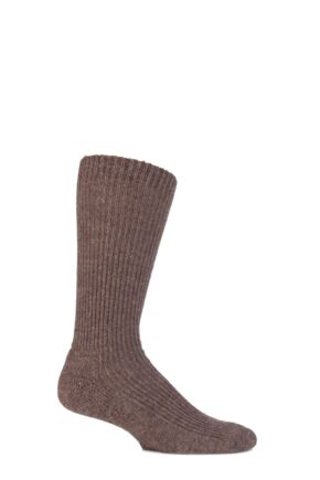 Mens and Ladies 1 Pair SockShop of London Alpaca Ribbed Boot Socks With Cushioning Natural Brown 8-10