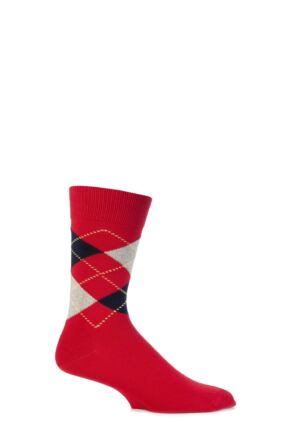 Mens 1 Pair Viyella Short Cotton Argyle Socks With Hand Linked Toe Red