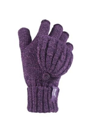 Ladies 1 Pair Heat Holders 3.2 Tog Heatweaver Yarn Fingerless Gloves with Converter Mitt