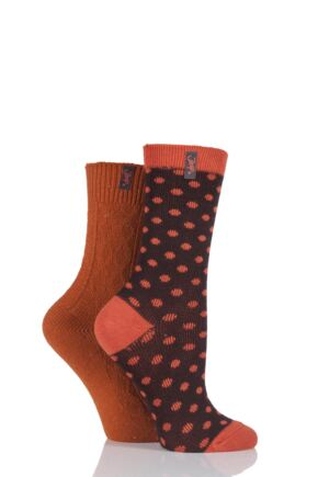 Ladies 2 Pair Jeep Spirit Spotty and Aran Knit Cotton Socks Orange 4-7 Ladies