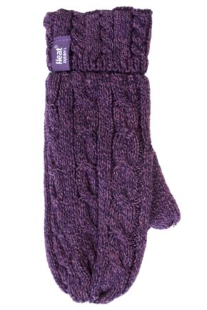 Ladies 1 Pair Heat Holders 2.5 Tog Heatweaver Yarn Mittens In Purple Purple L/XL