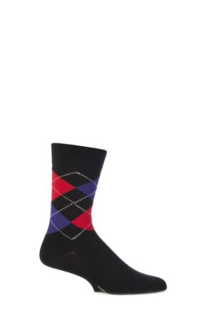 Mens 1 Pair Viyella Short Cotton Argyle Socks With Hand Linked Toe
