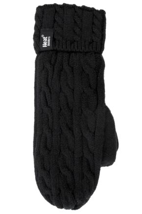 Ladies 1 Pair Heat Holders 2.5 Tog Heatweaver Yarn Mittens In Black
