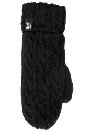 Ladies 1 Pair Heat Holders 2.5 Tog Heatweaver Yarn Mittens In Black