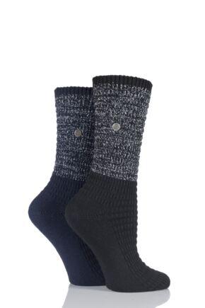 Ladies 2 Pair Jeep Spirit Metallic Knit Cotton Socks