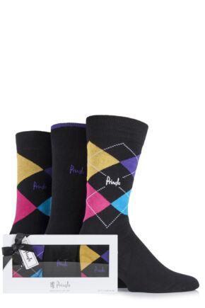 Mens 3 Pair Pringle Gift Boxed Waverley Plain and Argyle Cotton Socks Black 7-11 Mens