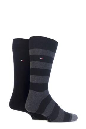 Mens 2 Pair Tommy Hilfiger Rugby Striped Cotton Socks Black 9-11
