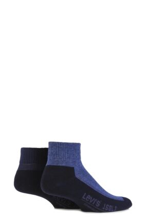 Mens 2 Pair Levis 168LS Plain Cushioned Quarter Length Socks