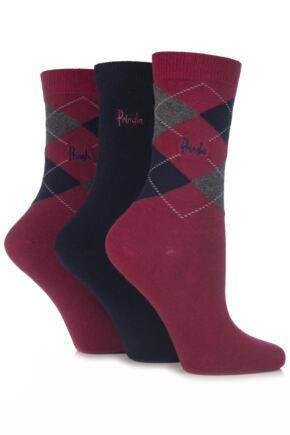 Ladies 3 Pair Pringle Louise Argyle Cotton Socks In 7 Colours
