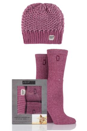 Ladies Jeep Spirit Loose Knit Hat and 2 Pairs of Cotton Socks Gift Box In Pink Rose One Size