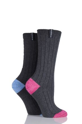 Ladies 2 Pair Glenmuir Ribbed Contrast Heel and Toe Cotton Leisure Socks Grey 4-8 Ladies