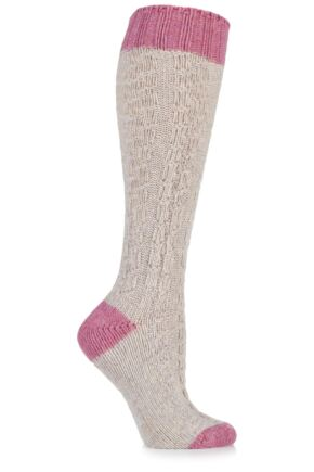 Ladies 1 Pair Urban Knit Cable Knit Wool Blend Knee High Socks 33% OFF