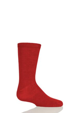 Boys and Girls 1 Pair SOCKSHOP Plain Bamboo Socks with Comfort Cuff and Smooth Toe Seams Red 4 - 5.5