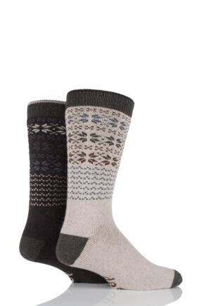 Mens 2 Pair Jeep Wool Blend Winter Fair Isle Socks