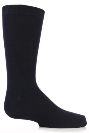 Boys and Girls 1 Pair SockShop Plain Bamboo Socks with Comfort Cuff and Handlinked Toes In Navy