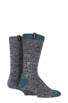 Mens 2 Pair Glenmuir Merino Wool Blend Cable Knit Boot Socks