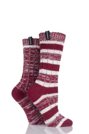 Ladies 2 Pair Glenmuir Stripe and Plain Wool Blend Boot Socks Red 4-8 Ladies