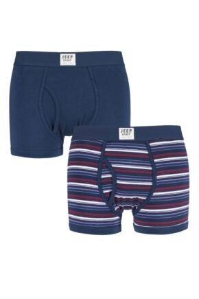 Mens 2 Pack Jeep Spirit Stripe and Plain Cotton Rich Keyhole Trunks