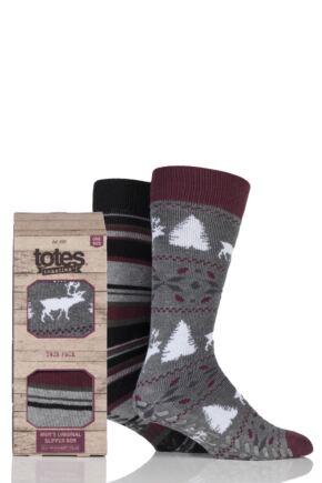 Mens 2 Pair Totes Original Reindeer and Stripe Slipper Socks Grey 7-12 Mens