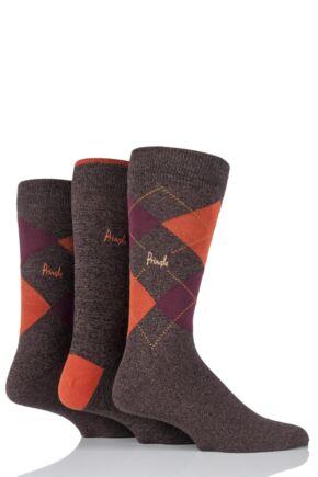 Mens 3 Pair Pringle New Waverley Argyle Patterned and Plain Socks