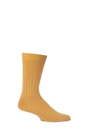 Mens 1 Pair Viyella Short Wool Ribbed Socks With Hand Linked Toe English Mustard