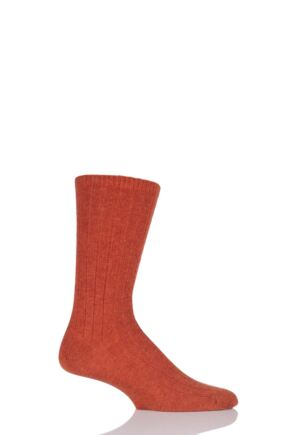 Mens 1 Pair SockShop of London 100% Cashmere Bed Socks Orange 11-13 Mens