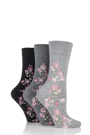 Ladies 3 Pair Gentle Grip Climbing Rose Marl Cotton Socks