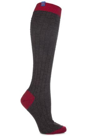 Ladies 1 Pair Urban Knit UK Made Square Heel And Toe Knee High Socks 50% OFF