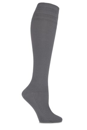 Ladies 1 Pair HJ Hall Energisox Compression Socks with Softop Mid Grey 3-6
