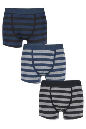 Mens 3 Pack Firetrap Dark Striped Boxer Shorts In Black