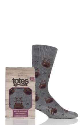 Mens 1 Pair Totes Original Christmas Novelty All Over Reindeer Slipper Socks with Grip Grey 7-12 Mens