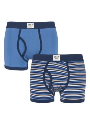 Mens 2 Pack Jeep Spirit Multi Stripe and Plain Cotton Rich Keyhole Trunks