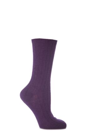 Ladies 1 Pair SockShop of London 100% Cashmere Bed Socks with Smooth Toe Seams Purple