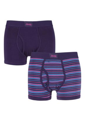 Mens 2 Pack Jeep Keyhole Trunks In Purple Purple / Pink Small