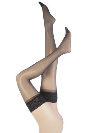 Ladies 1 Pair SockShop 10 Denier Classic Nylon Lace Top Hold Ups In 6 Colours