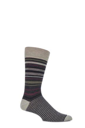 Mens 1 Pair Viyella Tonal Striped Wool Cotton Blend Socks 33% Off Lovat 6-11