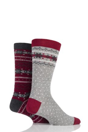 Mens 2 Pair Totes Christmas Novelty Socks In Cracker Gift Box Red 7-12 Mens