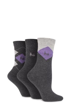 Ladies 3 Pair Pringle Fern Lurex Diamond Argyle Cotton Socks Grey 4-8
