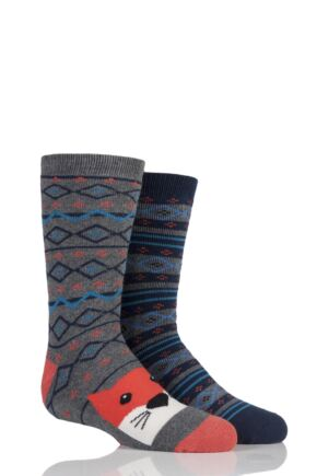 Boys and Girls 2 Pair Totes Fox Fairisle Original Slipper Socks with Grip