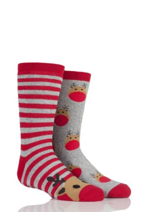 Boys and Girls 2 Pair Christmas Novelty Reindeer Slipper Socks with Grip Multi 3-6 Years