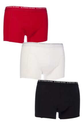 BJORN BORG 3 TO GO SOLID COLOURS BOXER SHORTS IN RED, WHITE AND BLACK