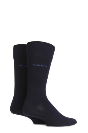 Mens 2 Pair BOSS Plain 75% Cotton Socks Dark Blue 43-46