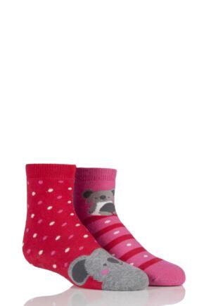 Babies 2 Pair Totes Tots Koala Bear Slipper Socks Pink 1-3 Years