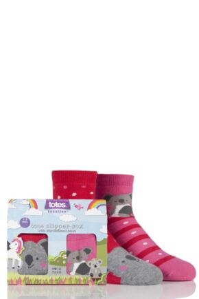 Babies 2 Pair Totes Tots Koala Bear Slipper Socks Pink 1-3 Years