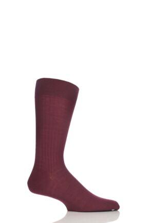 Mens 1 Pair Pantherella Merino Wool Rib Socks Wine 10-12