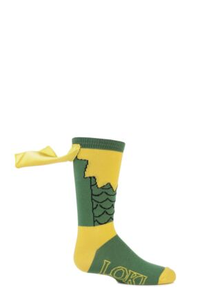Kids 1 Pair SockShop Marvel Loki Cape Cotton Socks Green 12.5-5