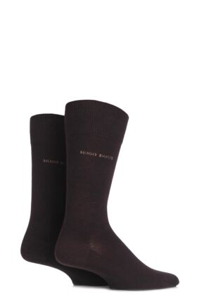 Mens 2 Pair BOSS Plain 75% Cotton Socks Dark Brown 47-50