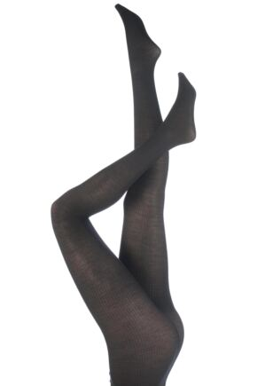 Ladies 1 Pair Trasparenze Dora Rib Wool Tights Dark Grey Medium