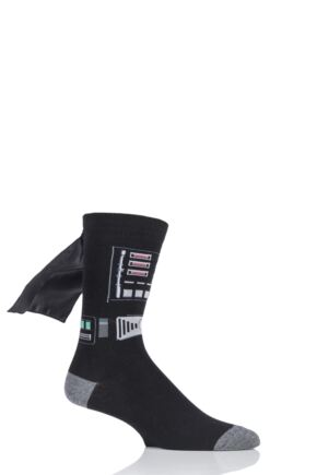 Mens 1 Pair SockShop Disney Star Wars Darth Vader Cape Socks Black 6-11 Mens
